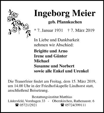 Traueranzeige für Ingeborg Meier vom 12.03.2019 aus Schaumburger Nachrichten