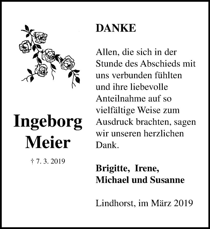 Traueranzeige für Ingeborg Meier vom 23.03.2019 aus Schaumburger Nachrichten