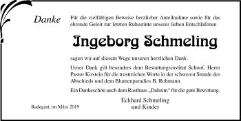 Traueranzeige für Ingeborg Schmeling vom 29.03.2019 aus Ostsee-Zeitung GmbH