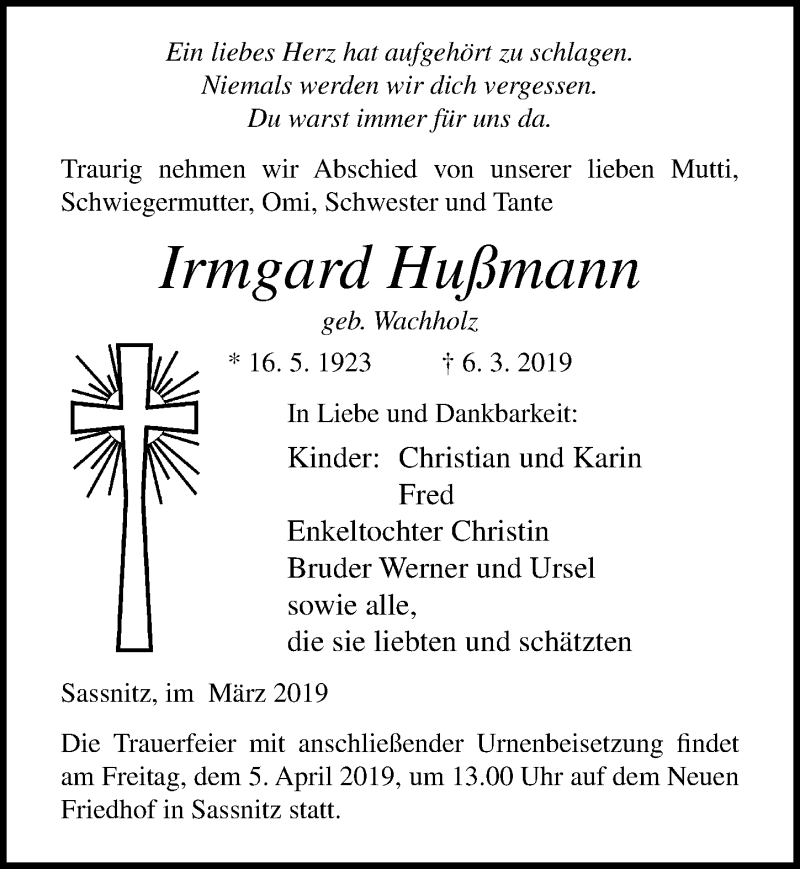 Traueranzeige für Irmgard Hußmann vom 09.03.2019 aus Ostsee-Zeitung GmbH