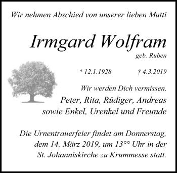 Traueranzeige für Irmgard Wolfram vom 10.03.2019 aus Lübecker Nachrichten