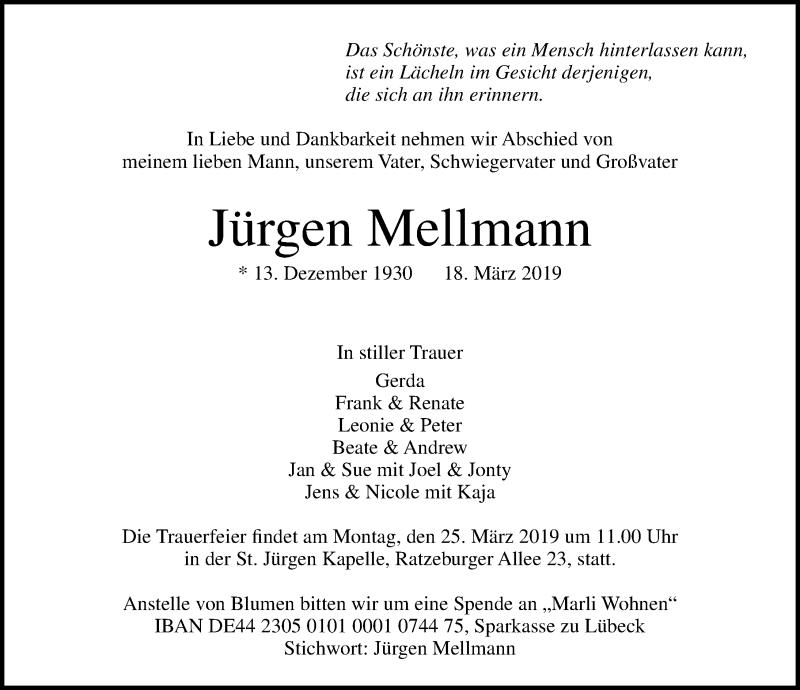 Traueranzeige von  Jürgen Mellmann