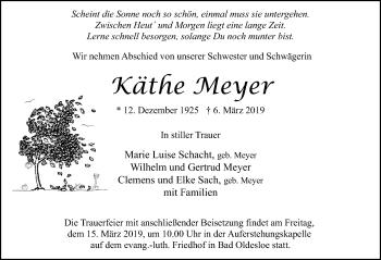 Traueranzeige für Käthe Meyer vom 10.03.2019 aus Lübecker Nachrichten