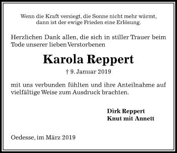 Traueranzeige für Karola Reppert vom 16.03.2019 aus Peiner Allgemeine Zeitung