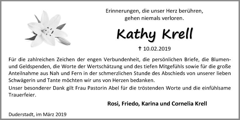 Traueranzeige für Kathy Krell vom 30.03.2019 aus Eichsfelder Tageblatt