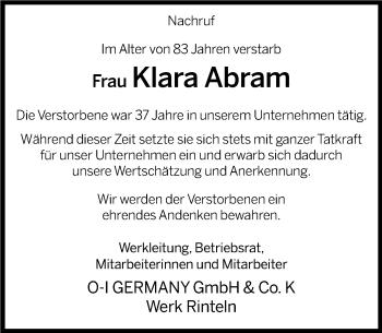 Traueranzeige für Klara Abram vom 15.03.2019 aus