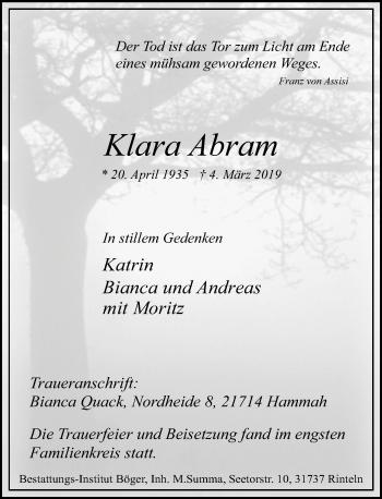 Traueranzeige für Klara Abram vom 09.03.2019 aus Schaumburger Nachrichten