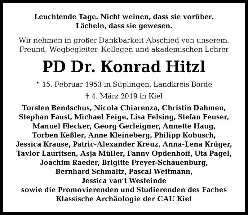Traueranzeige für Konrad Hitzl vom 16.03.2019 aus Kieler Nachrichten