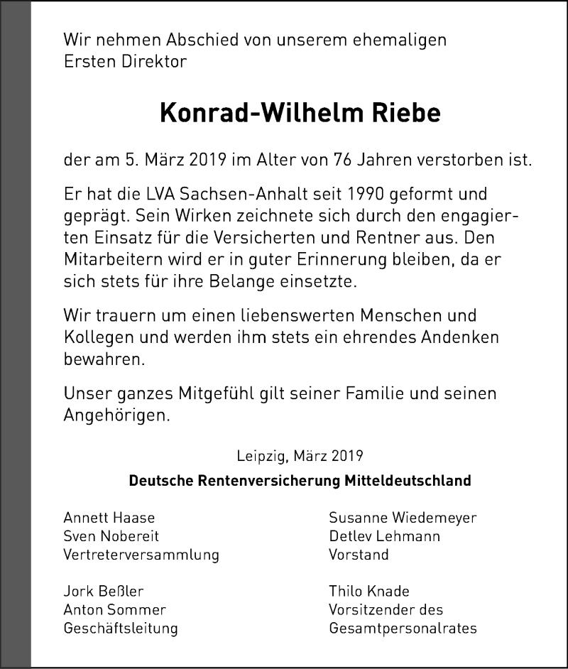Traueranzeige für Konrad-Wilhelm Riebe vom 16.03.2019 aus Schaumburger Nachrichten