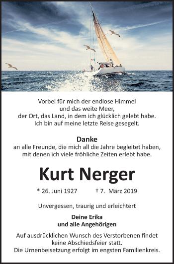 Traueranzeige für Kurt Nerger vom 13.03.2019 aus Lübecker Nachrichten