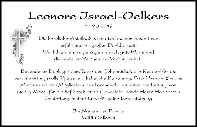 Traueranzeige für Leonore Israel-Oelkers vom 23.03.2019 aus Göttinger Tageblatt