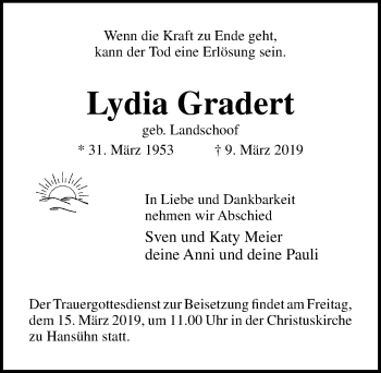 Traueranzeige für Lydia Gradert vom 13.03.2019 aus Lübecker Nachrichten