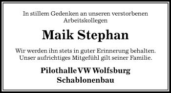 Traueranzeige für Maik Stephan vom 08.03.2019 aus Aller Zeitung