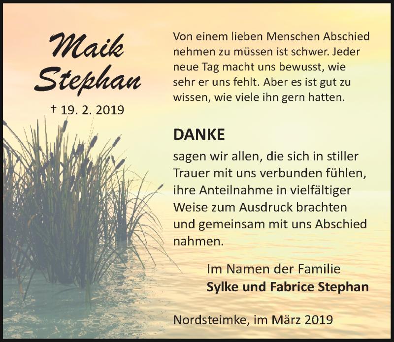 Traueranzeige für Maik Stephan vom 16.03.2019 aus Aller Zeitung