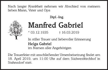 Traueranzeige für Manfred Gabriel vom 30.03.2019 aus Märkischen Allgemeine Zeitung