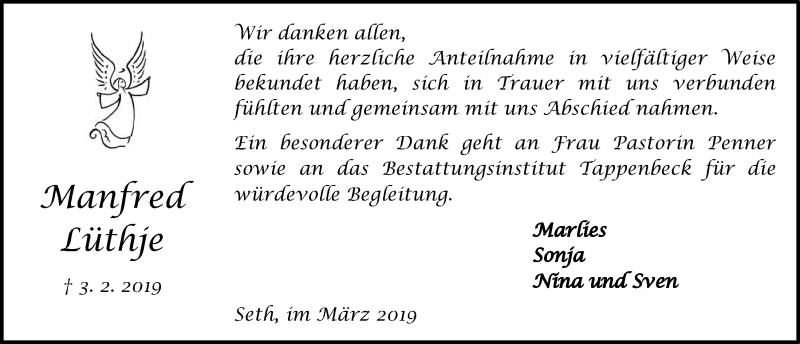 Traueranzeige für Manfred Lüthje vom 16.03.2019 aus Kieler Nachrichten