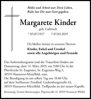 Traueranzeige für Margarete Kinder vom 09.03.2019 aus Hannoversche Allgemeine Zeitung/Neue Presse