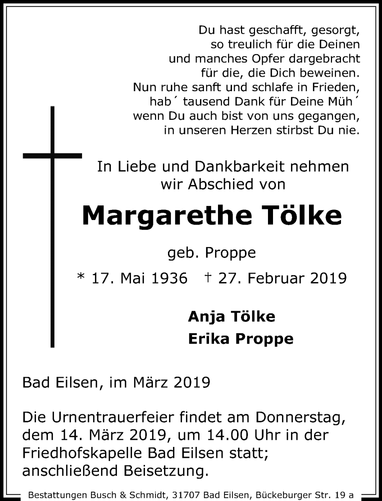 Traueranzeige für Margarethe Tölke vom 09.03.2019 aus Schaumburger Nachrichten