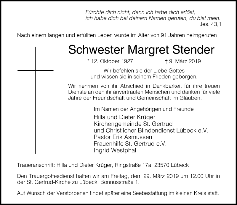 Traueranzeige von  Margret Stender