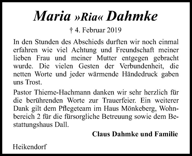 Traueranzeige für Maria Dahmke vom 02.03.2019 aus Kieler Nachrichten