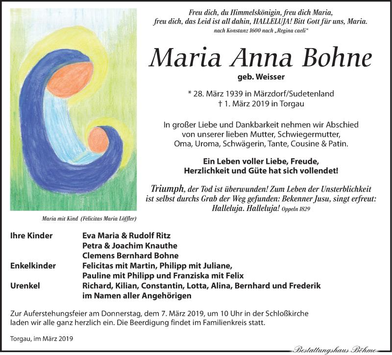 Traueranzeige für Maria Anna Bohne vom 05.03.2019 aus Torgauer Zeitung