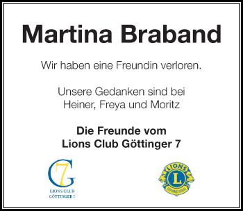 Traueranzeige für Martina Braband vom 09.03.2019 aus Göttinger Tageblatt