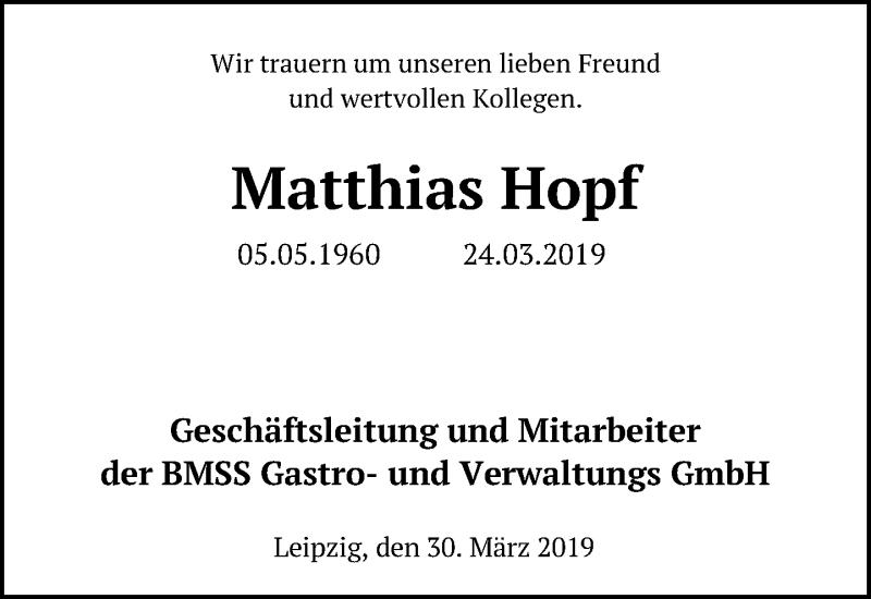 Traueranzeige für Matthias Hopf vom 30.03.2019 aus Leipziger Volkszeitung
