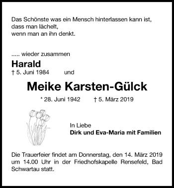 Traueranzeige für Meike Karsten-Gülck vom 13.03.2019 aus Kieler Nachrichten