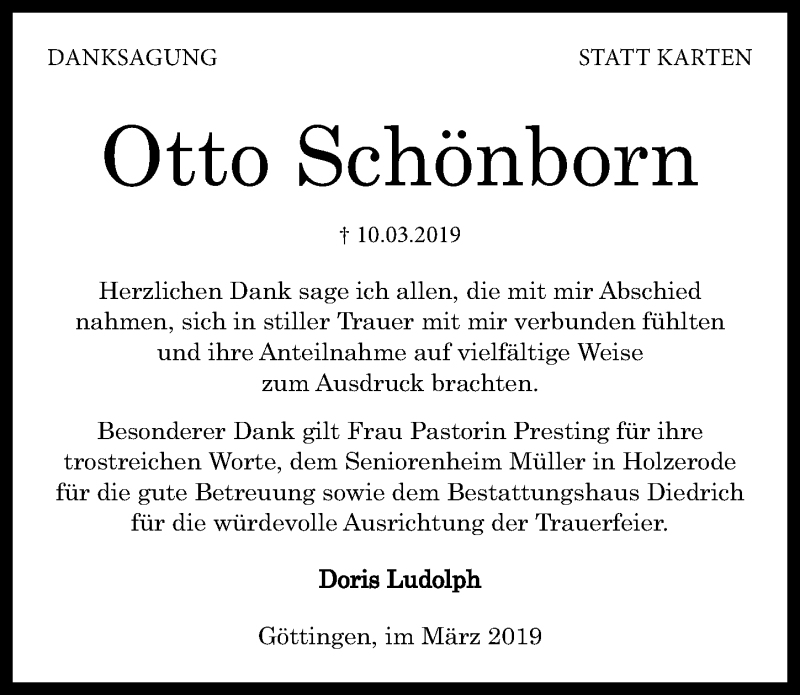 Traueranzeige für Otto Schönborn vom 30.03.2019 aus Göttinger Tageblatt