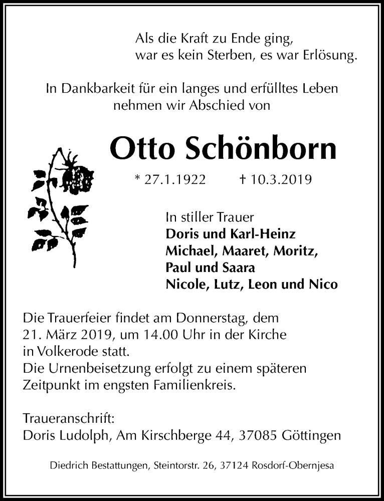 Traueranzeige für Otto Schönborn vom 16.03.2019 aus Göttinger Tageblatt