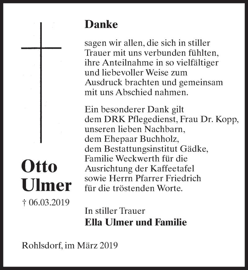 Traueranzeige für Otto Ulmer vom 30.03.2019 aus Märkischen Allgemeine Zeitung