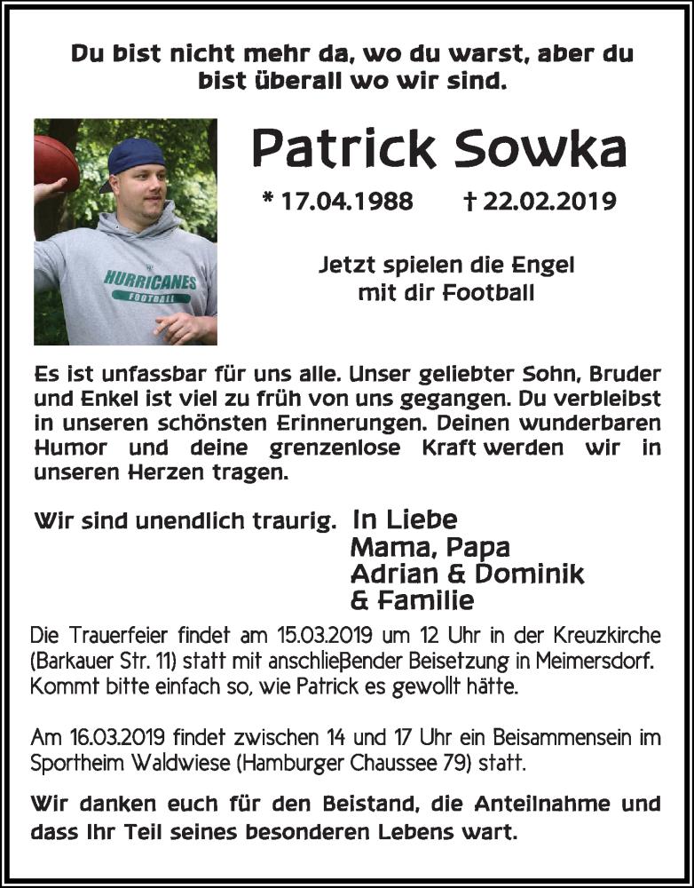 Traueranzeige für Patrick Sowka vom 09.03.2019 aus Kieler Nachrichten