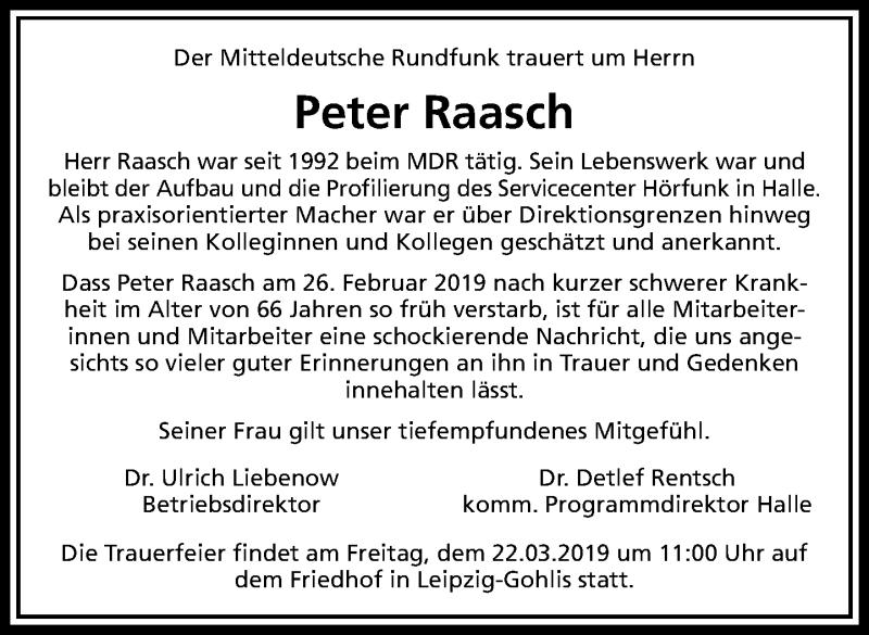 Traueranzeige für Peter Raasch vom 09.03.2019 aus Leipziger Volkszeitung