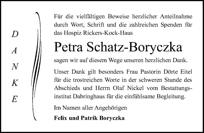 Traueranzeige für Petra Schatz-Boryczka vom 31.03.2019 aus Lübecker Nachrichten