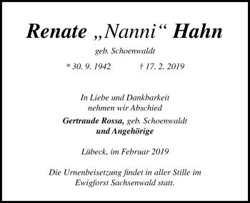Traueranzeige für Renate Hahn vom 06.03.2019 aus Lübecker Nachrichten