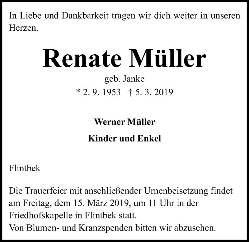 Traueranzeige für Renate Müller vom 12.03.2019 aus Kieler Nachrichten