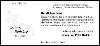 Traueranzeige für Renate Redeker vom 30.03.2019 aus Schaumburger Nachrichten