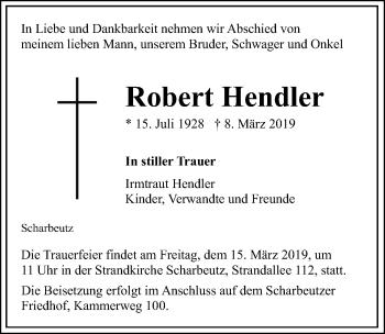 Traueranzeige für Robert Hendler vom 13.03.2019 aus Lübecker Nachrichten