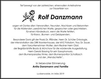 Traueranzeige für Rolf Danzmann vom 30.03.2019 aus Märkischen Allgemeine Zeitung