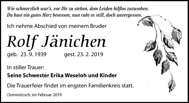 Traueranzeige für Rolf Jänichen vom 02.03.2019 aus Torgauer Zeitung