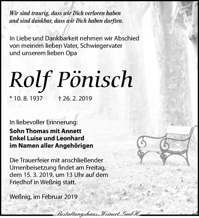 Traueranzeige für Rolf Pönisch vom 02.03.2019 aus Torgauer Zeitung