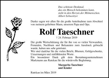 Traueranzeige für Rolf Taeschner vom 31.03.2019 aus Lübecker Nachrichten