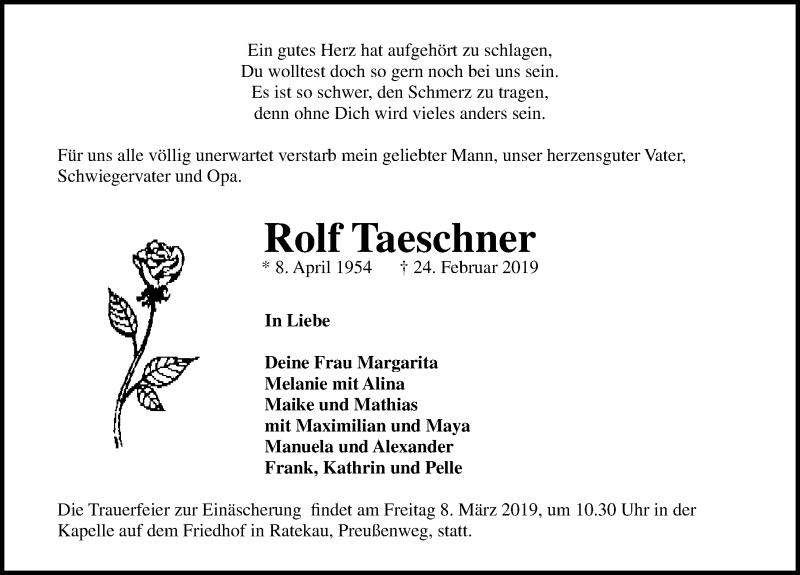 Traueranzeige für Rolf Taeschner vom 03.03.2019 aus Lübecker Nachrichten