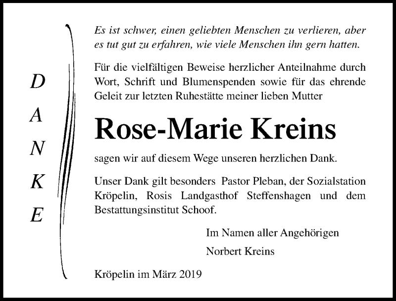 Traueranzeige für Rose-Marie Kreins vom 29.03.2019 aus Ostsee-Zeitung GmbH