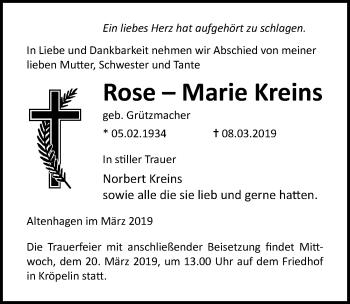 Traueranzeige für Rose-Marie Kreins vom 12.03.2019 aus Ostsee-Zeitung GmbH