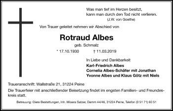 Traueranzeige für Rotraud Albes vom 14.03.2019 aus Peiner Allgemeine Zeitung