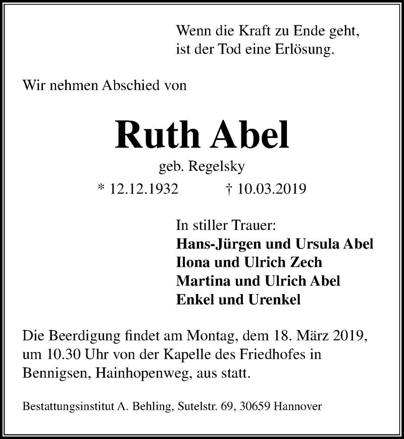 Traueranzeige für Ruth Abel vom 14.03.2019 aus