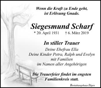 Traueranzeige für Siegesmund Scharf vom 09.03.2019 aus Leipziger Volkszeitung