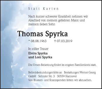 Traueranzeige für Thomas Spyrka vom 12.03.2019 aus Hannoversche Allgemeine Zeitung/Neue Presse