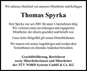 Traueranzeige für Thomas Spyrka vom 20.03.2019 aus Hannoversche Allgemeine Zeitung/Neue Presse
